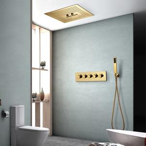 Doccia 400 millimetri Ti-PVD Oro Colore sistemi a pioggia soffione soffitto del bagno montato cascata Doccia termostatica valvola in ottone