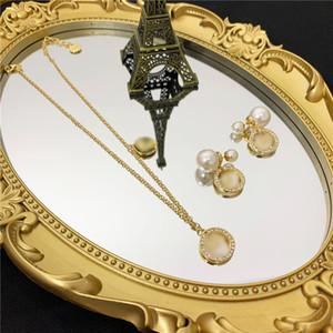 Vintage Letter Shell Necklace Pendants Rinestone Pearl Star Stud Earrings Designer Pendants Earrings Women Jewelry Sets