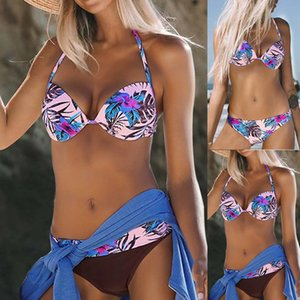 2019 Extreme Sexy Lengeries Women Push Up High Cut V Neck Bathing Suits Floral Print Lady Underwear Wire Free Female IntimatesX1122