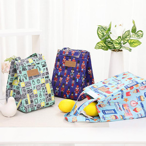 Folding Insulated Lunch Handbag Camping Aluminum Foil Large Capacity Portable Food Bags Waterproof Oxford Cloth Print Lunch Bag OWE2615
