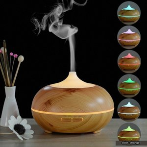 New humidifier round wood grain humidifier air purifier wood grain machine 300ml led lights ultrasonic air humidi ZHCp#
