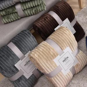 Flannel Solid Striped Super Soft Blankets Winter Warm Fluffy Bedspread For Sofa Bedroom Mechanical Wash Blanket DDC4502
