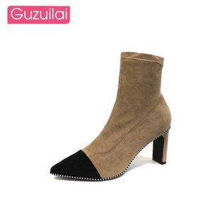 GUZUILAI 2020 дамы лоскутных ботильонов PU квадратный каблук высоких черная осень новый женская низкий s