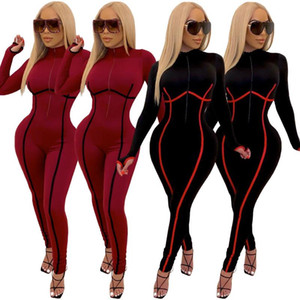 Manga larga One Piece Outfit Bodycon Jumpsuit Mujeres Sexy Zip Up Rampers Club Trajes Otoño Invierno Patchwork Entrenamiento Overse