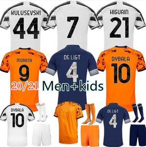 Özel 2020 21 Futbol Formaları 20 21 Morata Dybala Hayranları Kulusevski Chiesa De Ligt McKennie Pirlo Bonucci Futbol Gömlek Erkekler Kids Kit Jersey