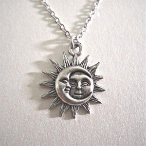 Silver colour Sun and Moon Necklace Charm Celestial jewelry Dainty Love Friendship Soulmate Gift for her fashion women men 2021