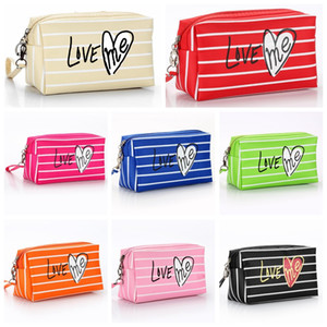 Women Cosmetic Bags Fashion Striped Zipper Neceser Nylon Pouch Wash Toiletry Bag Travel Organizer Make Up Bag Free Shipping