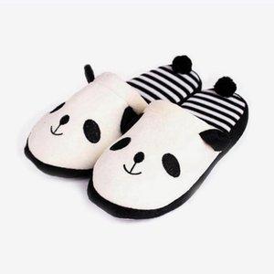 Kış Kadınlar Daire Terlik Kadın Sıcak Peluş Panda Pamuk Sevimli Yumuşak Zemin Kapalı Ayakkabı Bayanlar Rahat Artı boyutu Moda