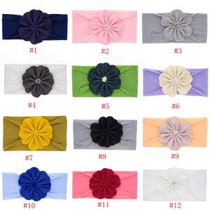 Baby Girls Flower Headbands Kids Elastic Headwear Headdress Headwrap Turban Knot Children Hair Accessories 12Colors