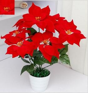 """45CM 19.7"""" Fake künstliche Blumen Poinsettia 7 Kopf Weihnachten Silk Poinsettien Blumenstrauß Zuhause-Party-Tisch-Dekoration"""