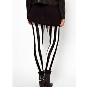 New Black White Striped Vertical Printed Leggings Gothic Creative Fitness Women Punk Shape Slim Sexy Popular Pants