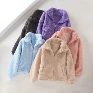Faux Fur Coat Women Drawstring Overcoat Winter Warm Soft Zipper Fur Jacket Female Plush Overcoat Pocket Casual Teddy Outwear