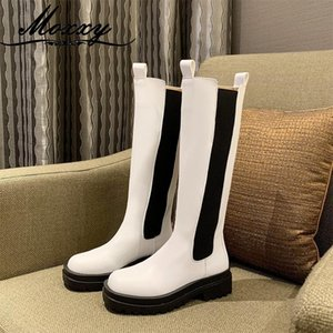 Moxxy Leather Army Boots Women 2020 New Autumn Platform Gothic Knee High Boots Shoes Woman Slip On Punk Long