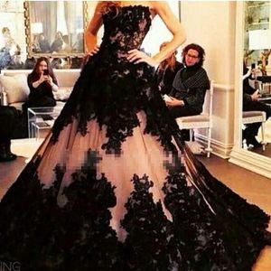 2021 Black Lace Wedding Dresses Floor Length Strapless Tulle Custom Made Corset Back Plus Size Chapel Wedding Bridal Gown Vestido de novia