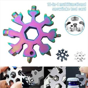 18 in 1 Snowflake Spanner Keyring Hex Multifunktions-Outdoor-Wanderung Wrench Schlüsselring-Taschen-Multifunktionslager überleben Handwerkzeuge DDA650