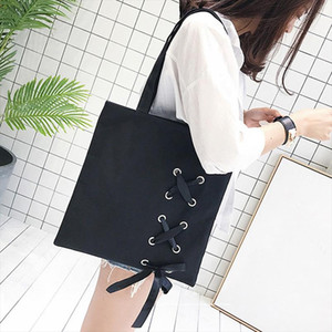 New Womens Casual Lace up Canvas Tote Bag Female Canvas Shoulder Bags crossbody bags for women Beach bag bolso mujer Black