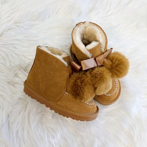 Ankle boot Australia In Beige Chamois Suede Leather Little Girls in Winter Casual Ankle Snow Boots Brown Black Salt Size 22-35
