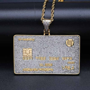 Bank Card Shape Pendant Necklace Diamond Gold Card Hip-hop Personality Jewelry New