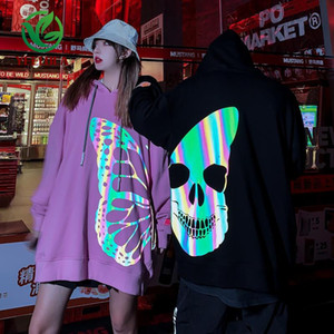 High Quality European American High Street Fashion Flow 3M Reflective Butterfly Printed Hoodie Hoodie Foreign Trade Men 2020