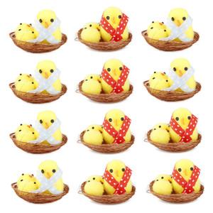 Simulación Pascua Polluelo Amarillo Mini Precioso Artificial Decoración de Hogar Juguetes Pollo de felpa Regalo de Pascua para niños 12pcs / Set HA3515