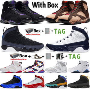 2021 con Box Jumpman 7 7s Patta X Ray Allen Olympic Mens Basketball Shoes 9 9s UNC Racer Blue Transports Sneakers Tamaño 7-13
