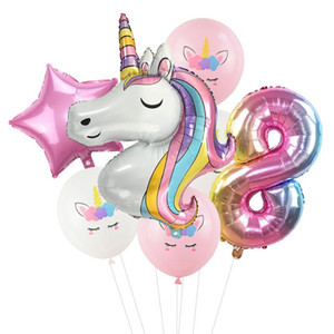 7pcs lot Rainbow Unicorn Party Balloons Unicorn Birthday Decoration Number Balloon Kids Birthday Party Baby Shower Decor Globos sqckrV