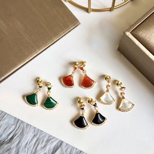 Marke reine kupferne Schmucksachen für Frauen Natürliche Mutter Shell Perle Fan Ohrring-bunte Stein Partei Schmuck Ohrringe