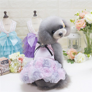 Dog Supplies Pet Dog Rose Wedding Dress Puppy Princess Lovely Clothes Cloth for Small Dog Apparel