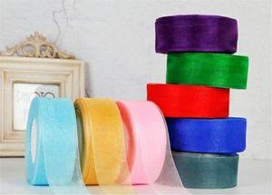 New Festive 4cm x 45m Fest Farbe Organza Tüll Bänder Rolle Geschenkverpackung Verpackung DIY Organza-Band-Partei-Weihnachtsdekoration