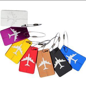 Flugzeugflugzeug-Gepäck-ID-Tags-Boarding-Reiseadresse-ID-Karte Case-Tasche-Etiketten-Karten-Hunde-Tag-Sammlung Keychain-Schlüssel Ringe Toys Geschenke EWD2757