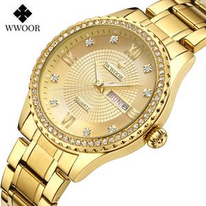 Nuevos amantes de Wwoor Golden Reloj de pulsera Dial 40 / 33mm Impermeable 30m Reloj luminoso Butterfly Button-Up Acero de acero Reloj de Diamante Hombre
