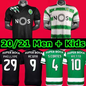 20 21 Sporting CP Soccer Jersey Kids Kit pour enfants 2020 2021 Sporting Lisbonne Football Shirt S.Coate Vietto Camisa de Futebol Phellype Acuna Jersey