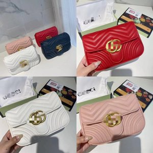 WHGcX Top Qual double G bag POCHETTE FELICIE Chain Strap Shoulder bag Women Embossing Handbag Crossbody Wallets Holder Card two G bag Purse