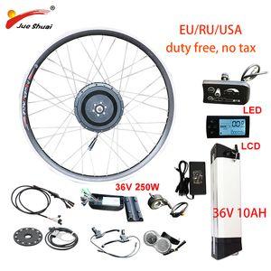 AB RU Duty Free Yok Vergi 36V 250W Bisiklet Takımı 36V10AH Lityum Batarya Elektrikli Bisiklet Dönüşüm Kiti Ön Arka Hub Motor Tekerlek e
