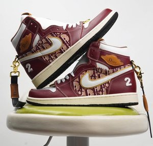 Fashion Diór Áir Jórdán 1 ÁJ1 OG High Mid Slipper Designer Scarpe Chaussures Hommes Basketball Men Shoes Sneakerscn 36-45