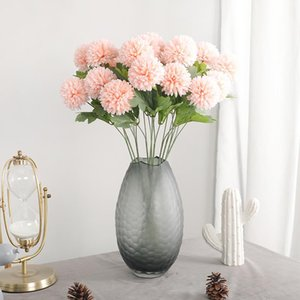2 Heads Artificial Dandelion Flower Silk Hyacinth Flower Wedding Decoration for Home Party Decorations Ball Chrysanthemum 1Pcs