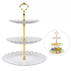 3 Layer Cupcake Stand Plastic Tiered Party Serving Stand Dessert Tower Tray Fruits Desserts Dish Plates for Tea Birthday Party Decor