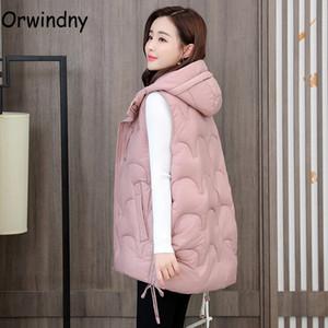 Chaqueta sin mangas de las mujeres del invierno Orwindny Escudo plisado más el tamaño 5XL chaleco de abrigo con capucha Chaleco sólido caliente cubierta