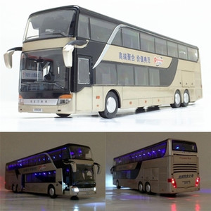 High quality 1:32 alloy pull back bus model high simitation Double sightseeing bus flash toy vehicle kids toys free shipping Y200109