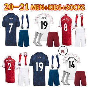 2021 Fußball Jersey + Socken Pepe Saka Nicolas Tierney Henry Wilian Maitland-Niles 2020 2021 Fußballhemden Männer Kinderanzug