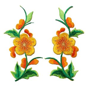 2pcs Flowers Leaves Roses Sew Iron On Patches Embroidered Badges Red Blue Yellow For Clothes Diy Appliques Craft Decoration H jllgAr