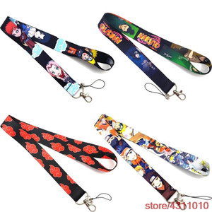anime naruto Akatsuki red cloud Lanyard Keychain for keys Badge ID Mobile Phone holder Key rings pendant Women men Neck Straps