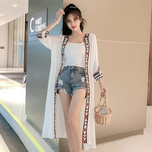 Large size white silk Changsha pure beach loose stretch kimono cardigan women's shirt flowers summer 2020 black clothing