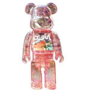 Nequet 400% 28 cm El oso de Bearbrick ABS Color brillante y luz de noche transparente BE @ RBRICK ART WORK TRABAJO MODELO Decoraciones Regalo