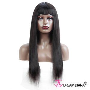 Peruvian Straight Human Hair Wigs With Bangs Brazilian Full Machine Made Human Hair Wigs For Black Women 12-28 inch Human Hair Wigs