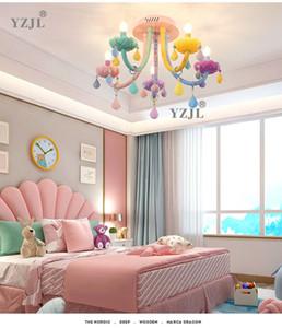 colorful crystal ceiling chandelier lamp bedroom chandelier lamp children's Faka american girl princess soft home lighting chandelier