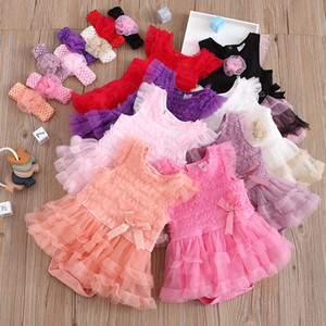 8 Colors INS Baby Girl Romper Headband 2 pcs Bow Jumpsuits Infant Baby Outfits Kid Clothes Summer Lace Clothing Onesie Tulle Layered Dress