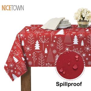 NICETOWN Natal Imprimir Toalha decorativa impermeável Oilproof Thi retangular casamento jantar tabela cobrir toalha de mesa de chá