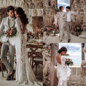 2021 Bohemian Lace Wedding Dresses Backless Long Sleeves Beach Bridal Gowns Plus Size Elegant robes de mariée