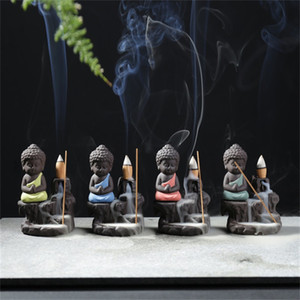Ceramics Backflow Incense Burner Purple Sand Buddha Mountains And Rivers Aromatherapy Oven Home Furnishing Office Ornaments 10hs J2